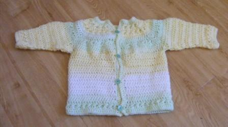 soft lime-white-yellow striped jacket (6-12months)